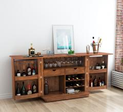 Linea bar cart in living room from Zuo Modern