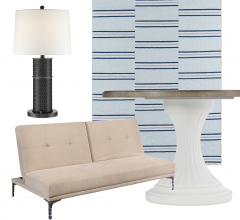 Idea Board collage featuring sofa, rug, lamp and table