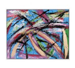 Fiesta Canvas abstract Wall Art with swipes of blue, black, pink, purple, green and gold from Howard Elliott
