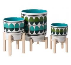 Three Retro Planters in large, medium and small sizes from Zuo Mod