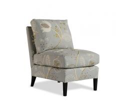 Myers Chair in a gray/blue fabric with floral embroidery designs from Taylor King