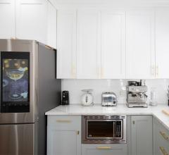Hi-tech contemporary kitchen with smart refrigerator
