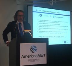 Bob Maricich speaking to press and IMC representatives at AmericasMart Atlanta