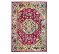 Savannah distressed, medallion-designed area rug in Violet and pink from Safavieh