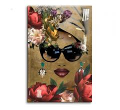 Mambo Queen Lupita acrylic wall art on a gold foil background from Oliver Gal