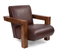 BRown leather and open wood frame Camden Chair from Howard Elliott