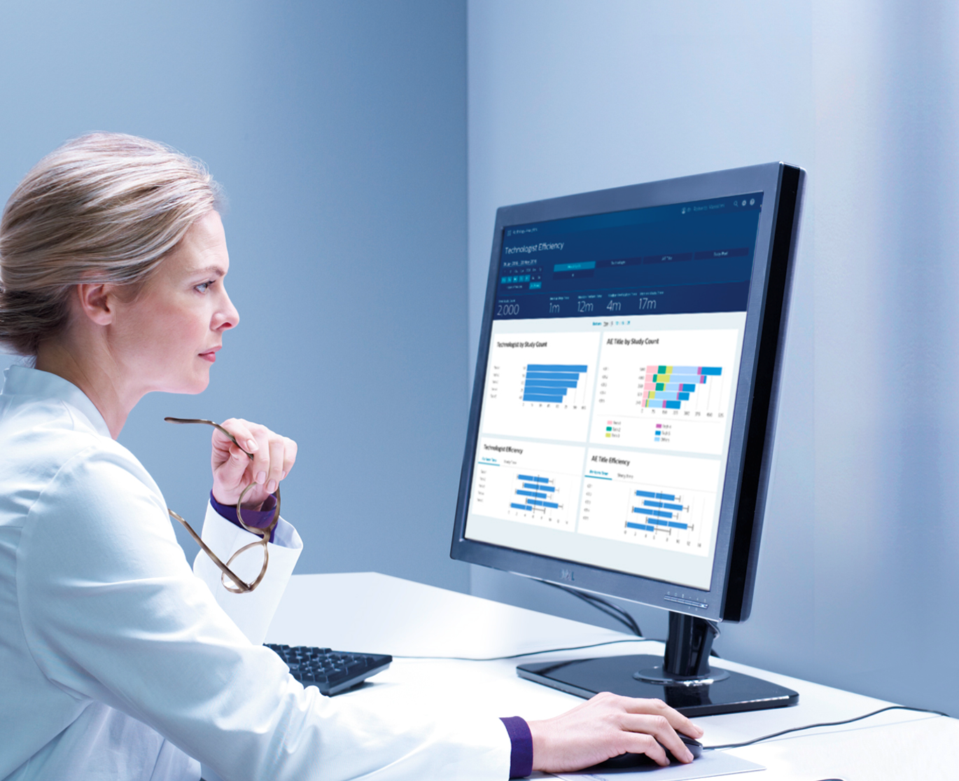 IntelliSpace Radiology Analytics aggregates and filters multiple data points for an integrated, holistic view of your workflow.