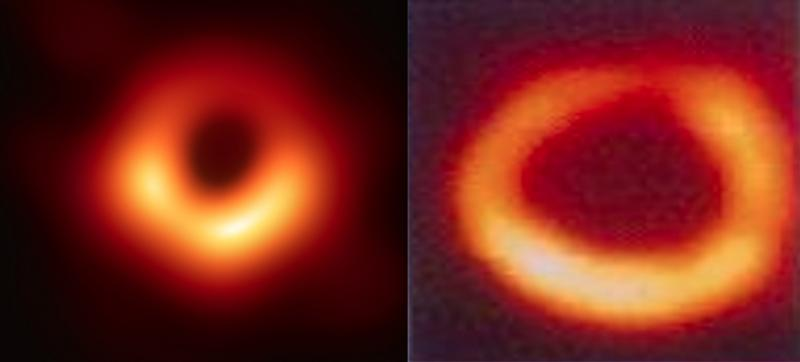 The first image of a black hole in space compared to a cardiac nuclear perfusion exam, showing the black hole of the left ventricle.