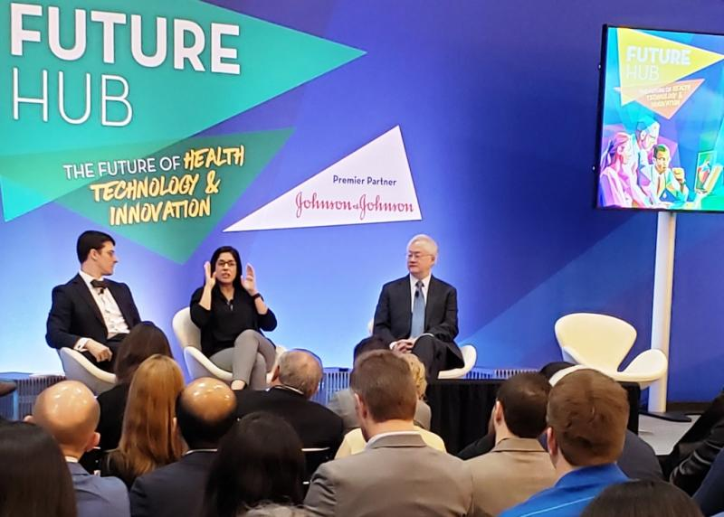 "Jennifer N. A. Silva, M.D., a pediatric cardiologist at Washington University School of Medicine in Saint Louis, Mo., describes ""mixed reality"" at ACC19 Future Hub."