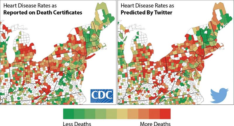 Big Data from Twitter showing stressed language posts compared to CDC reported heart attacks in study by Johannes Eichstaedt.