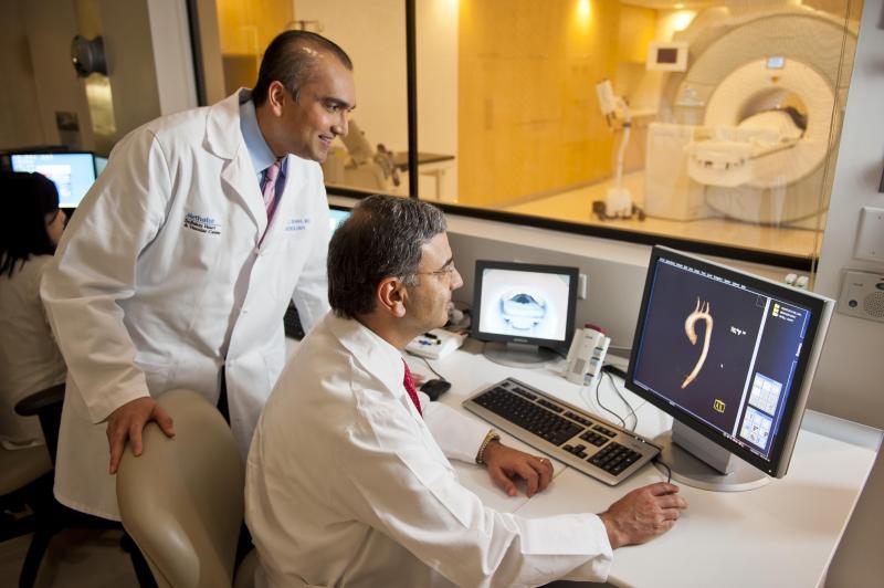 Cardiac MRI being performed at the DeBakey Heart Hospital.