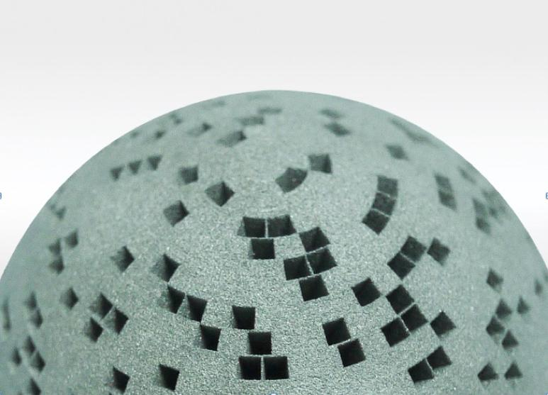 Complex 3-D printed tungsten prototype formed by additive manufacturing by Wolfmet. 3D printed tungsten.