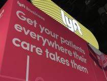 The ride share services Lyft and Uber both had booths on the HIMSS show floor for its business services for hospitals. Both ride share services offer a way for invalid, elderly, or patients without access to a car to still make appointments  or procedures. The companies said the ride share can be used to help speed discharges to cut length of stay. The service also can help avoid readmissions. The ride share apps are integrated into the hospital computer system to pre-arrange rides.