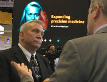 ITN Contributing Editor Greg Freiherr conducting an interview in the Siemens booth at HIMSS 2019.