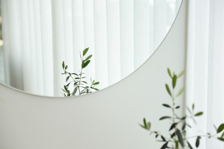 Blinds reflected in a mirror in a home