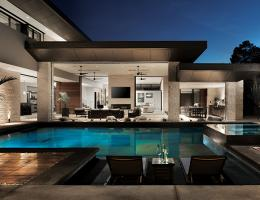 the new american remodel features an evaporative pool