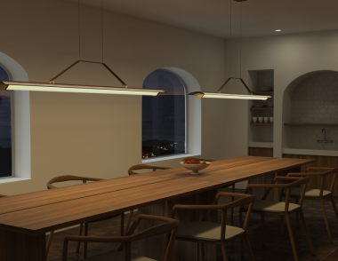 Cerno Group Penna Collection Linear Pendant Context Dining Room