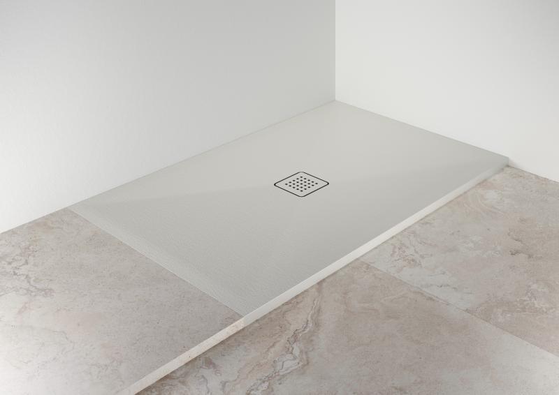Scarabeo STEP ceramic shower pan installation closeup