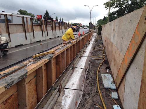 Work being done on the 16th Avenue NW overpass across Crowchild Trail in Calgary.