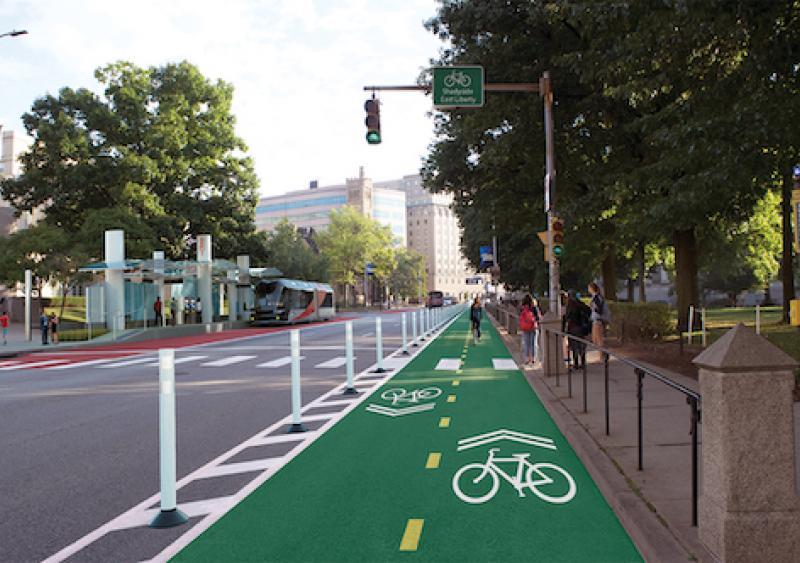 A dedicated bike lane on Fifth Ave in the Oakland neighborhood.