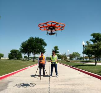 UAV-CRP technology is comprised of DSLR cameras mounted to the UAVs that fly over the infrastructure to image the terrain and structures from various angles.