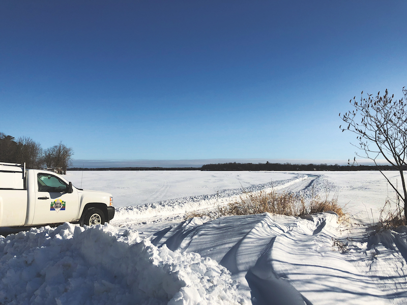 Septic Check transported ATU system materials to the remote community of Farm Island, Minn., across a frozen lake.