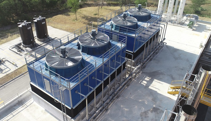 Axial flow cooling towers provide the cold source necessary for condensation and remove moisture from the dryer air.