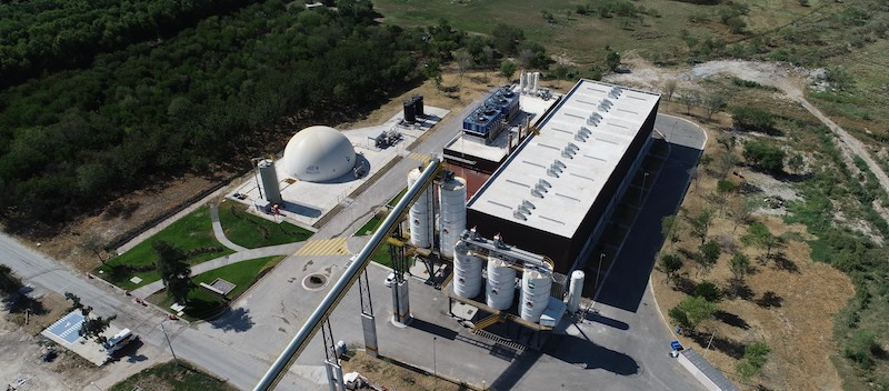 An arial view of entire Dulces Nombres Wastewater Treatment Plant in Monterrey, Mexico.