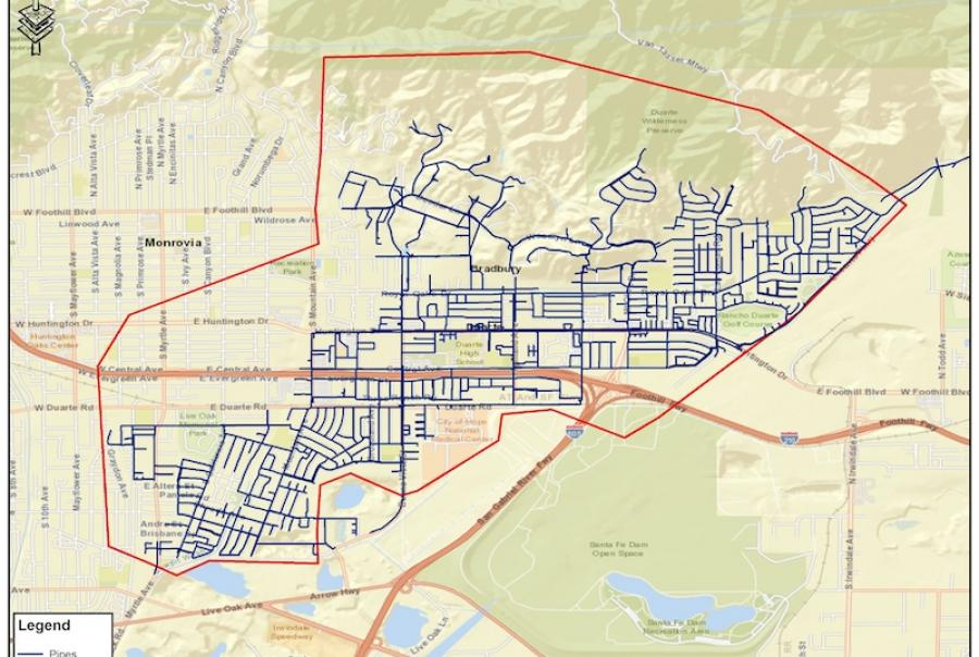 By using a system map like this and overlaying satellite imagery data with potential leak locations, utilities can more specifically target problem areas for water loss and leaks.