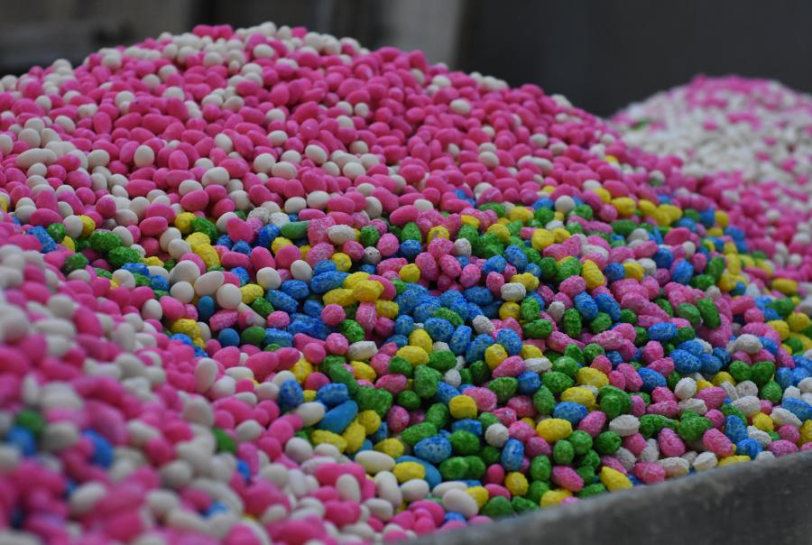 Candy manufacturing generates volatile organic compounds in the panning process