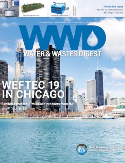 Water & Wastes Digest September 2019 Issue cover featuring the Chicago skyline from Lake Michigan to commemorate WEFTEC 2019.
